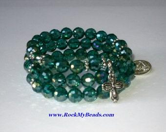 Green memory wire rosary bracelet,bracelet,rosary,religious bracelet,praying beads,wrap rosary,rosary beads,prayer beads,wrap bracelet