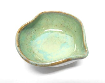 Heart Ring Bowl, Trinket Dish, Heart Dish, Pottery Heart, Heart Ring Dish,  Trinket Bowl, Nut Bowl, Nut Dish in Speckled Blue Green