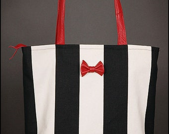 SALE! (was 89 Euro) Striped canvas shopper hand bag leather bow tie red offwhite black
