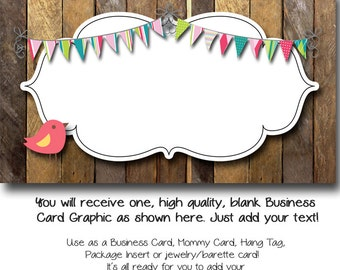 DYI Blank Business Card Template - Barn Wood Bird - Made to Match Etsy Sets and Facebook Timeline Covers