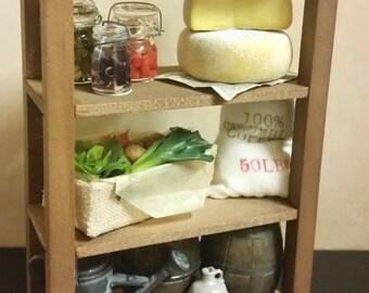 Pantry shelves for dollhouse miniature kitchen or cellar 1/12