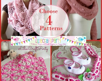 PATTERNS DISCOUNT Knitting and Crochet - CHOOSE 4 - Your choice of 4 patterns Instant Download Step by Step instructions