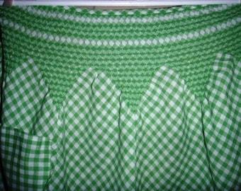vintage linen ... SMOCKING Green GINGHAM checked KITSCH apron ...