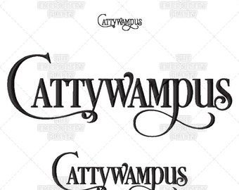 Cattywampus Calligraphy Script Colloqialism Quote Southern Saying Machine Embroidery Pattern Design