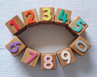 0-9 counting blocks / wooden toys / educational toy / personalised gift / for toddlers / oak / baby blocks / building blocks / wooden blocks