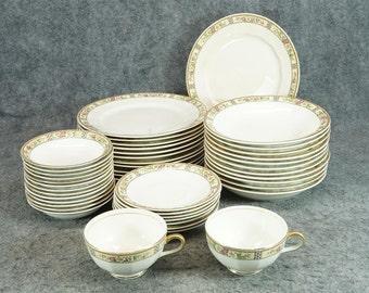 Edwin M Knowles 45 Pieces Semi-vitreous Porcelain China Set C. 1925