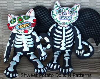 Day of the Dead Vampire Bat Cat Art Doll e Pattern Día de Muertos