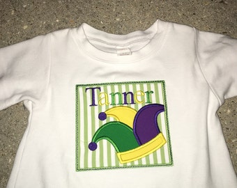 Mardi Gras Jester hat in square.  T- shirt,  onies or romper
