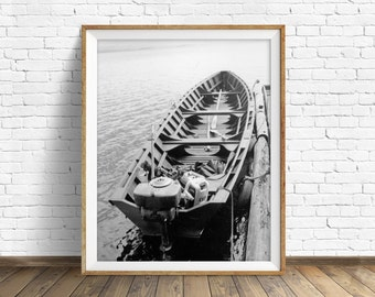 "black and white photography, large art, printable art, instant download art, vintage art, fishing, boat, nautical - ""Resting at the Dock"""