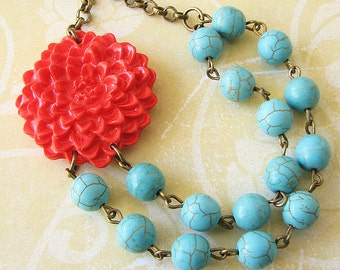 Turquoise Jewelry Statement Necklace Beaded Necklace Flower Necklace Red Coral Necklace Gift For Her