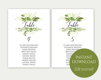 Seating Chart Template, Seating Chart Cards, Seating Chart Sign, Editable Template, Editable Seating Chart, Wedding Seating, Greenery, C8