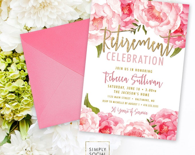 Floral Retirement Party Invitation - Pink Peony Ranunculus and Faux Gold Foil Watercolor Floral Boho  Printable