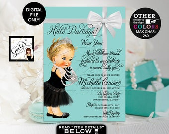 "Baby and Co Baby Shower Invitation, Audrey Hepburn Baby Girl Vintage, Princess Silver Tiara, White Bow DIGITAL FILE, 5x7"" Gvites"