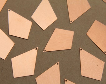 6 pc. Large Raw Copper Rhombus Diamond Charms: 32mm by 22mm - made in USA | RB-354