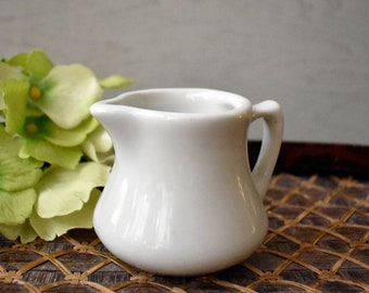 Small White Creamer Signed HALL Restaurant Ware Porcelain Creamer Pitcher - Individual Creamer Pitcher