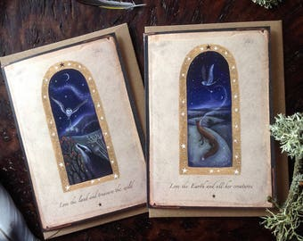 Love the Earth/Love the land. Magical Greeting Cards x2. Badger/Fox by Karen Davis