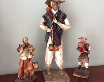 Vintage Paper Mache' Mexican Folk Art Figures, Set of 3