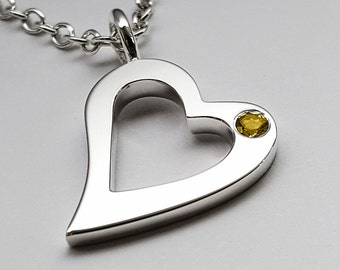 Citrine Open Heart Necklace Pendant In Sterling Silver - Sterling Silver Heart Necklace, Silver Heart Necklace, Citrine Necklace Pendant