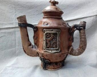 "Steampunk ceramic teapot ""Older 3.0"", manual work, stoneware, Collectors teapot, unique"