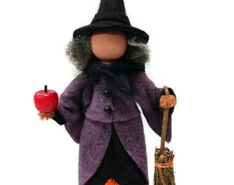 Witch Ornament - Halloween Hag, Clothespin Ornament, Halloween Ornament, Wicked Witch, Peg Doll, Ornament Exchange, Party Decor