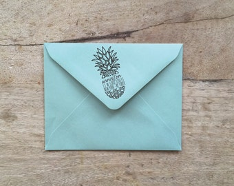 """Cracked Pineapple Return Address Stamp 1"""" x 2"""" and 2"""" x 4"""
