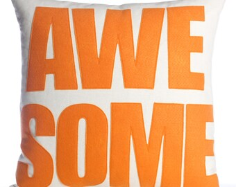 """Throw Pillow, Decorative Pillow, """"Awesome"""" pillow, 16 inch"""