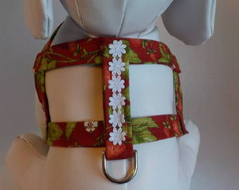 Dog Harness- Dog Clothes - Dog Harness - Dog Harnesses - Strawberries - Custom Dog Harness  - Designer Dog Fashion - Pet Apparel