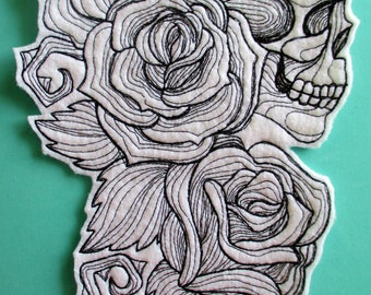 Extra Large Embroidered Skull and roses Applique Patch, Sugar Skull, Day of the Dead, Dia de los Muertos, Biker Patch, Iron On or Sew On