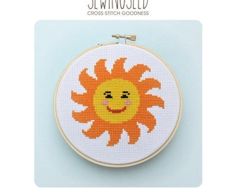 Happy Sun Cross Stitch Pattern Instant Download