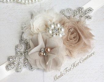 Bridesmaid Sash/Belt, Flower girl Sash, flower girl belt, Rustic Sash, Wedding Sash, wedding belt,  bridal sash/belt, ivory Bridal Sash,