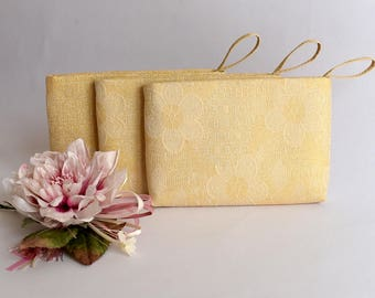 Golden Jacquard Bridesmaid Gift Bag Wedding Clutch  Bridesmaid Wristlet Wedding Purse Bride Clutch Bag Evening Purse