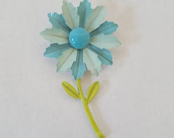 Vintage Enamel Floral Brooch Pin Blue Retro Costume Jewelery