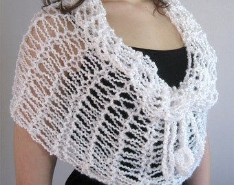 SALE - White Color Knitted Lacy Cowl Wedding Capelet Infinity Scarf Wrap Poncho with Cord Ties