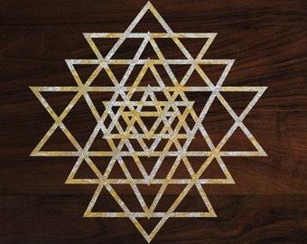 "Sacred geometry sticker Yantra die-cut decal  (3""x3"") Gold foil"