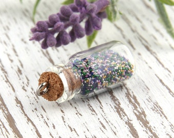 Mixed color, Mini Glass Bottle Pendant with Caviar Beads, 1 piece // PND-014