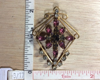 Vintage Harper 1/20th 12 K Gold Filled Pink Clear Rhinestone Pin Brooch Pendant Combo Pin Broken Needs Cleaned