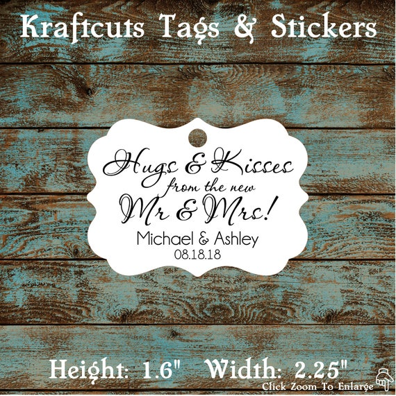 Hugs and Kisses Personalized Wedding Reception Favor Tags # 665 Qty: 30 Tags