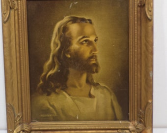 1941 Kriebel and Bates Litho Print Head of Christ in Antique Wood Frame Warner Sallman Religious Lithograph Print