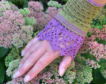 Lace crochet wristlets, cotton, P477