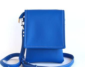 Royal Blue Crossbody Bag Cell Phone Bag Small Travel Bag Cell Phone Purse Vegan Leather Bag IPhone Crossbody Bag IPhone Case Phone Pouch