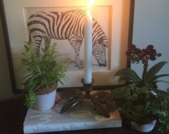 Brass floral candle holder