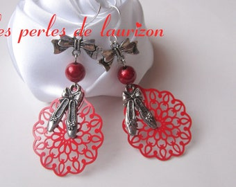 delicate red passion dance earrings