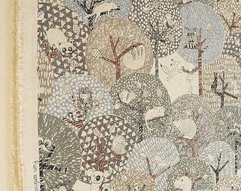 Japanese Cotton Linen Canvas Fabrics - forest animals