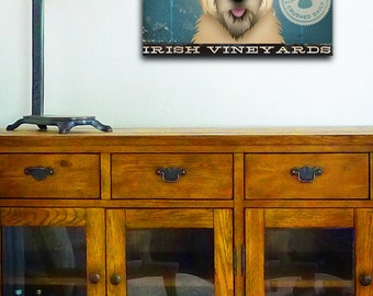 Wheaten Terrier Wine company original graphic artwork on gallery wrapped canvas by stephen fowler