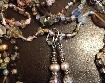 Wedding Jewelry, Brides Earrings, Freshwater Pearl Earrings, Crystal Earrings, Dangle Earrings