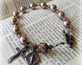 Rosary Bracelet in Bronze Swarovski Pearl with Catholic Crucifix and miraculous medal