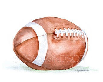 Football Watercolor - 20 x 16 - Large Fine Art Print - Watercolor Painting