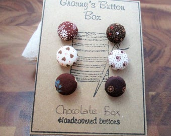 Hand made set of vintage fabric buttons - chocolate box,