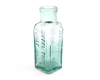 Antique Aqua Glass Bottle, Foster Clark Maidstone, Eiffel Tower, Vintage Bottle, Aqua Glass Apothecary Bottle, Antique Drink Bottle