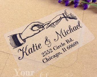 Custom Vintage Clear or White Labels, Wedding Labels, Return Address Sticker, Wedding Sticker, Wedding Favors, Return Address Labels, Stamp